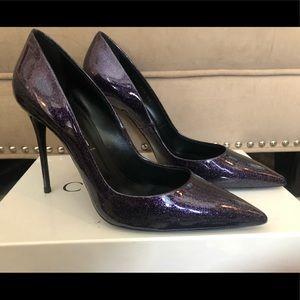 Brand New Casadei Dark Purple Glittered Pumps